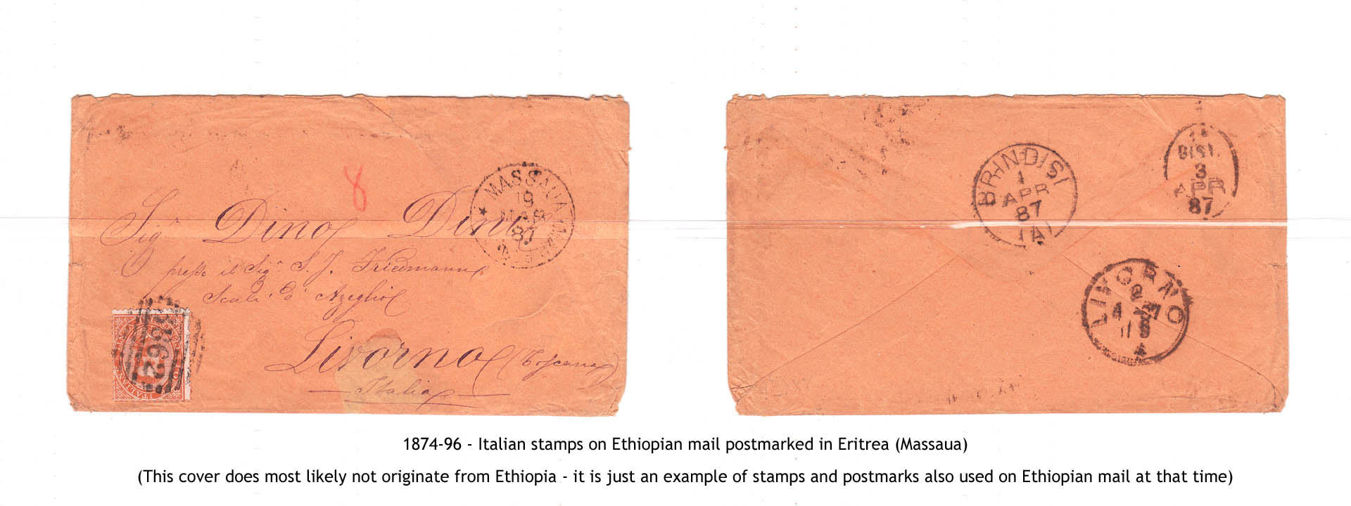 1874-96 - Italian stamps on Ethiopian mail postmarked in Eritrea