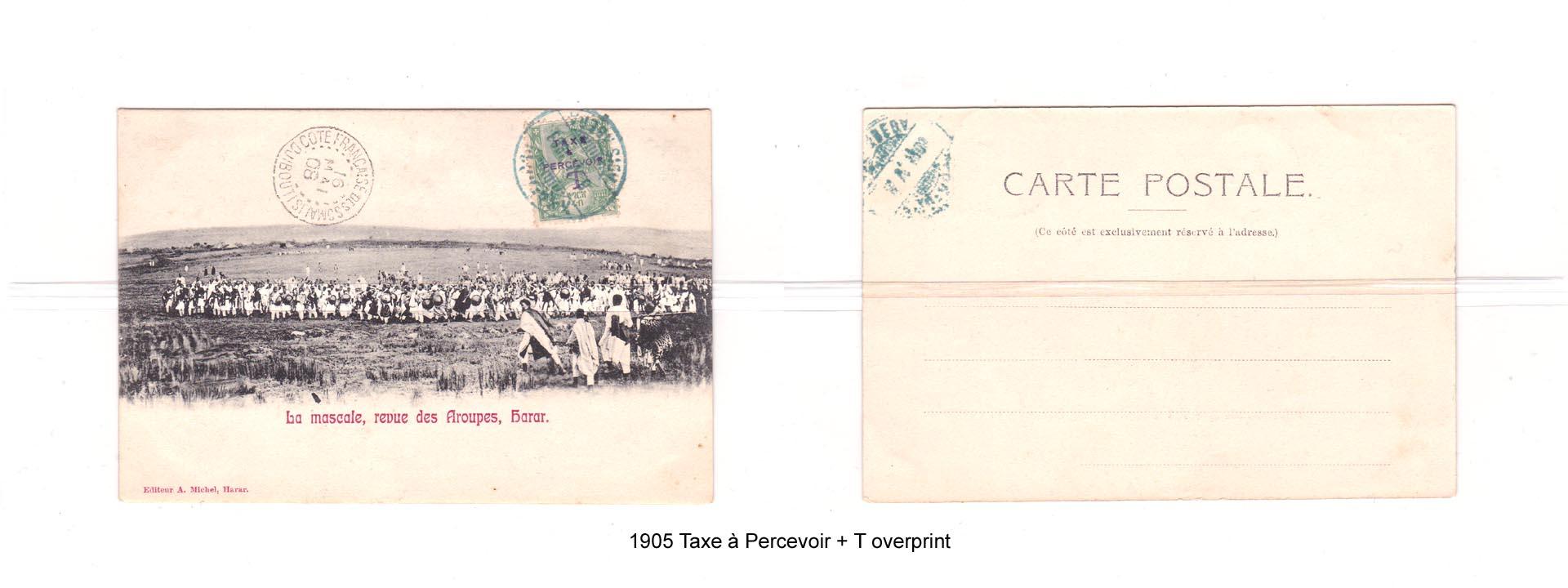 1905 Taxe à Percevoir + T overprint