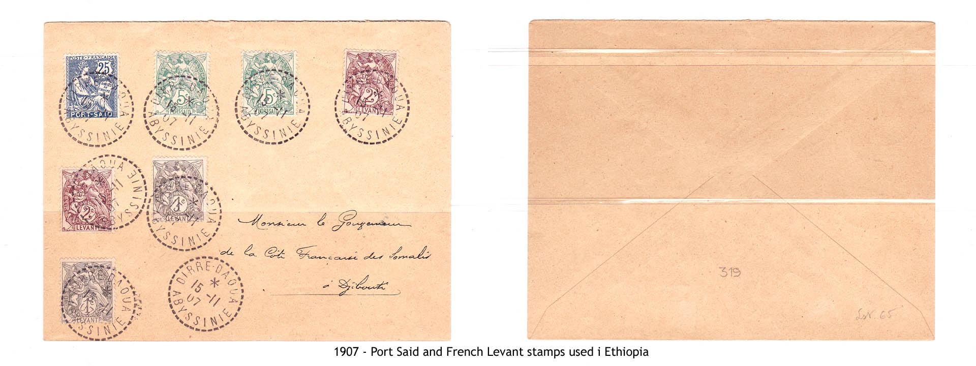 1907 - Port Said and French Levant stamps used i Ethiopia