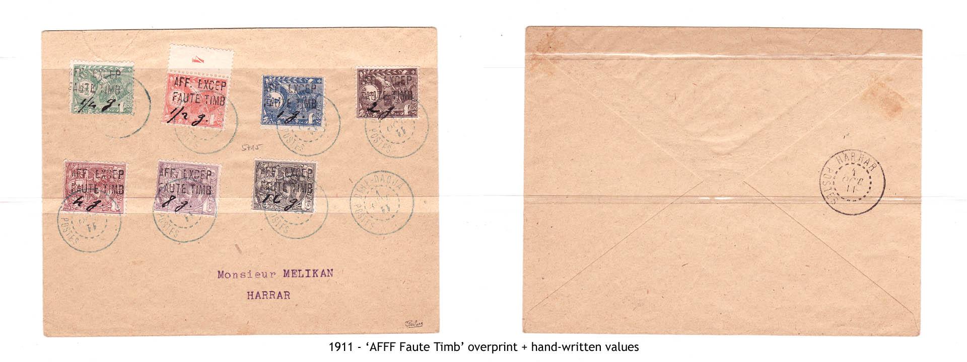 """1911 - """"AFFF Faute Timb"""" overprint + hand-written values"""