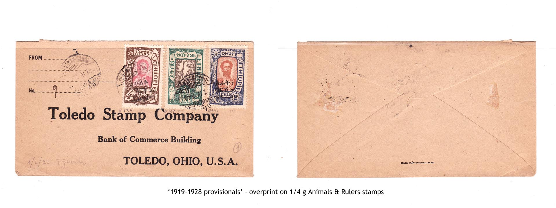 1919-1928 provisionals' – overprint on 1-4 g Animals & Rulers stamps