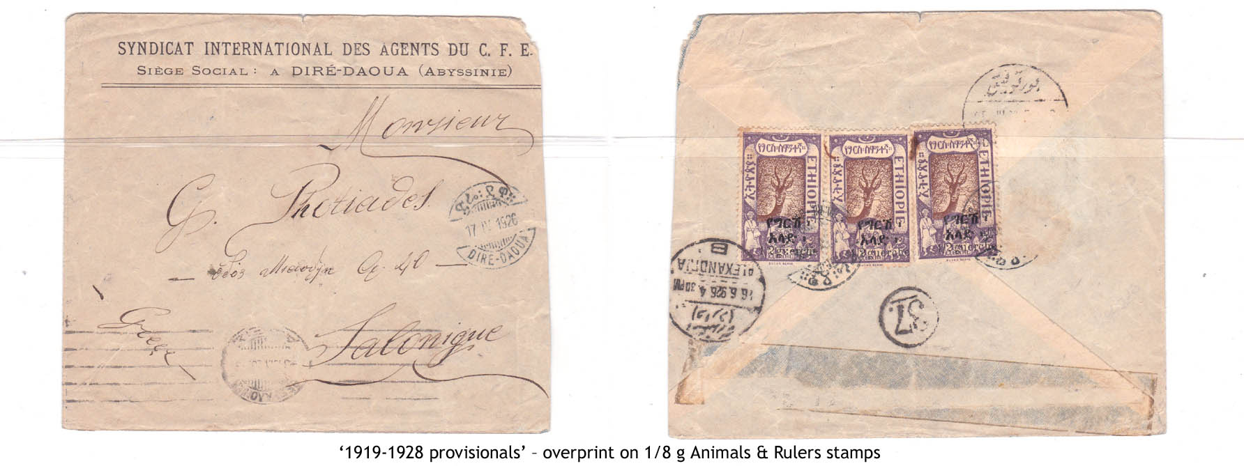 1919-1928 provisionals' – overprint on 1-8 g Animals & Rulers stamps
