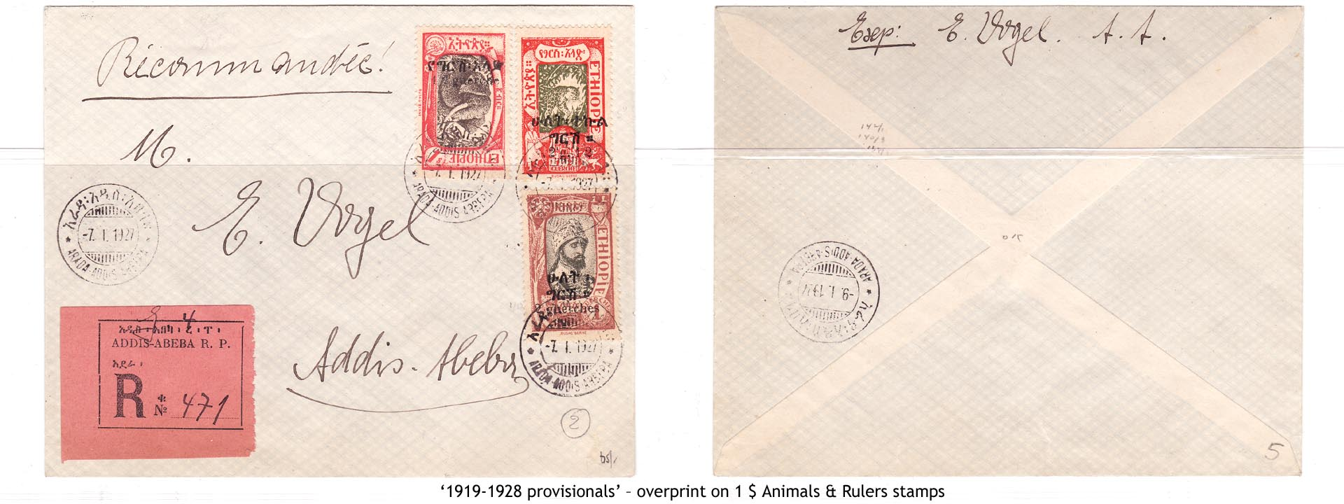 1919-1928 provisionals' – overprint on 1$ Animals & Rulers stamps
