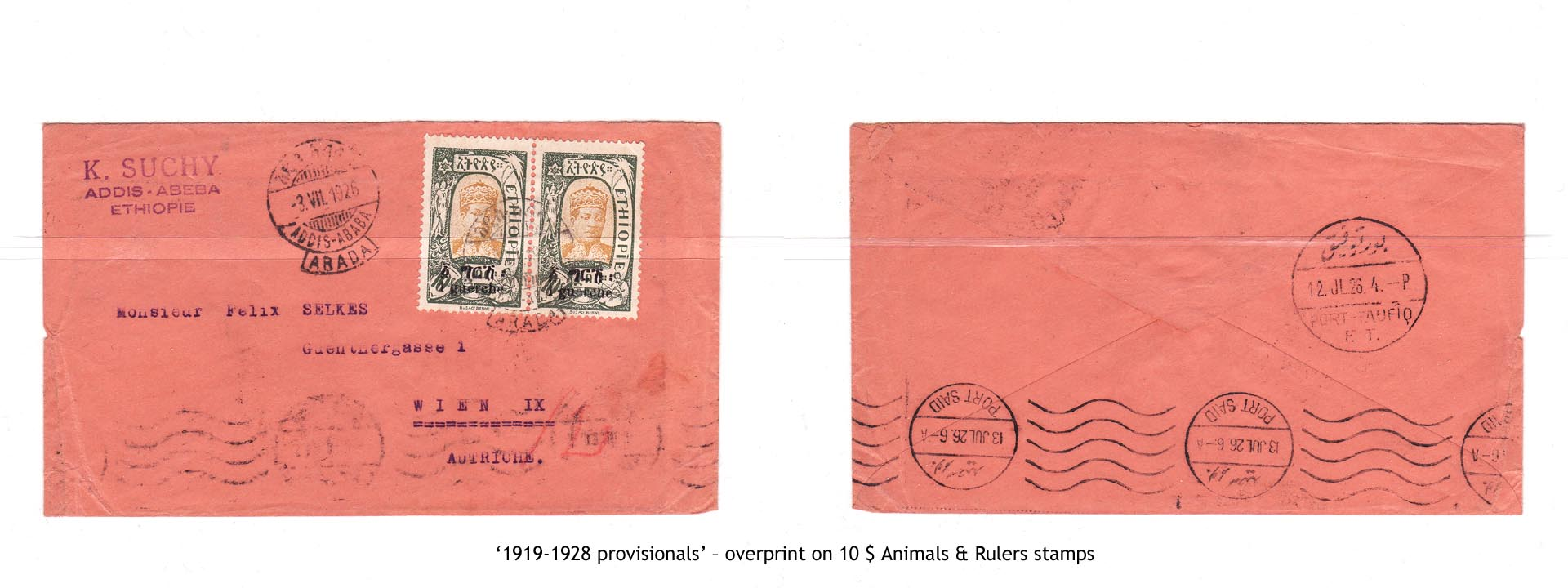 1919-1928 provisionals' – overprint on 10$ Animals & Rulers stamps