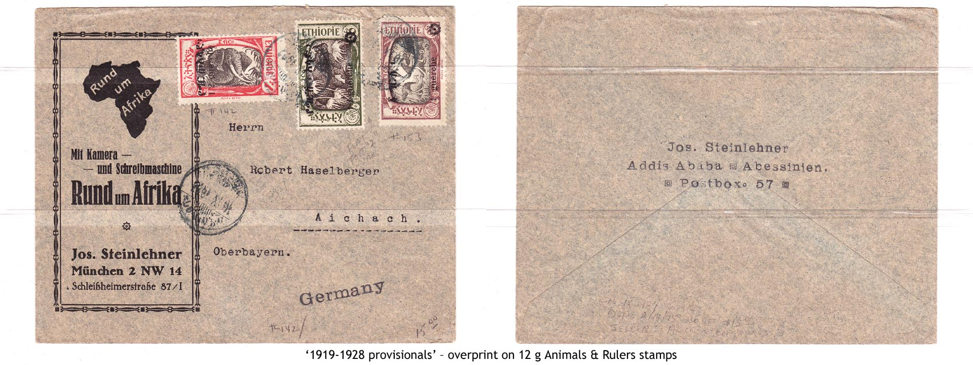 1919-1928 provisionals' – overprint on 12 g Animals & Rulers stamps