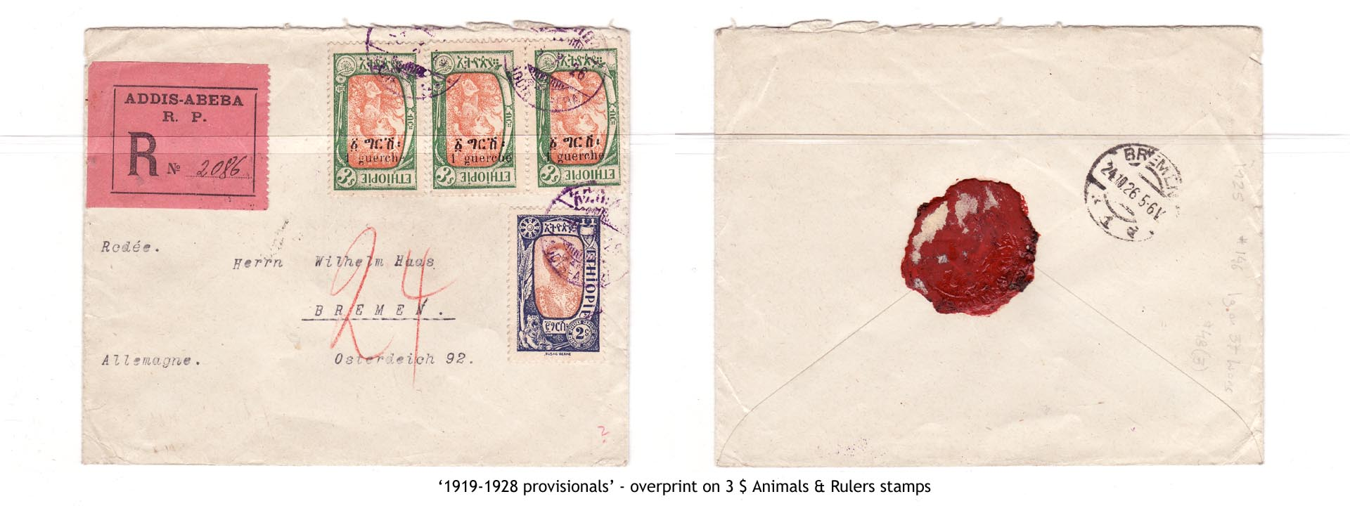 1919-1928 provisionals' – overprint on 3$ Animals & Rulers stamps