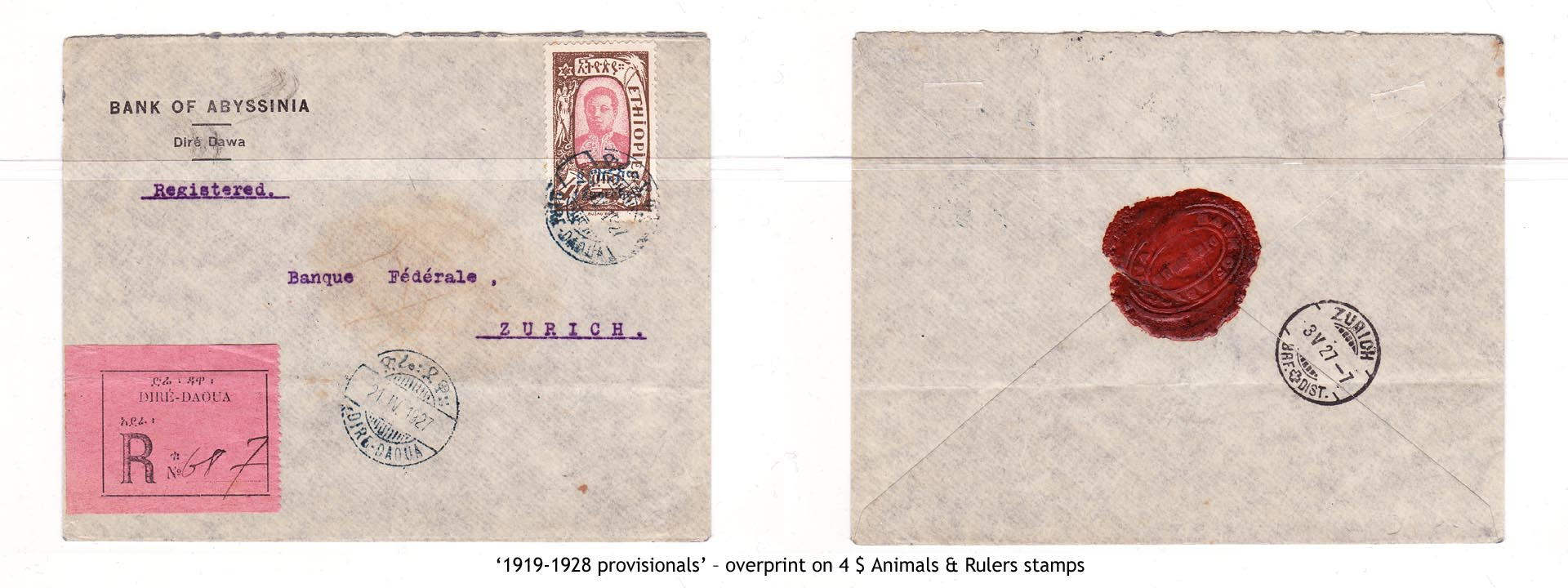 1919-1928 provisionals' – overprint on 4$ Animals & Rulers stamps