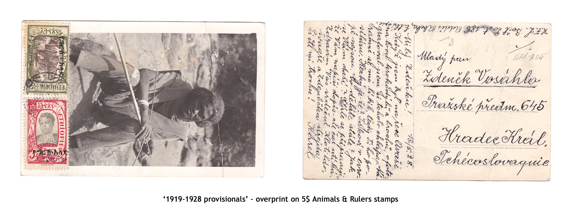 1919-1928 provisionals' – overprint on 5$ Animals & Rulers stamps