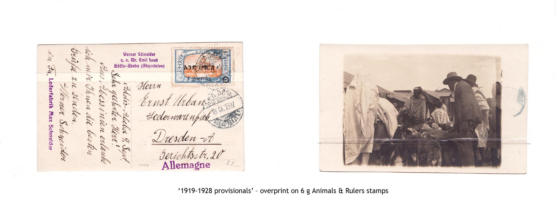 1919-1928 provisionals' – overprint on 6 g Animals & Rulers stamps