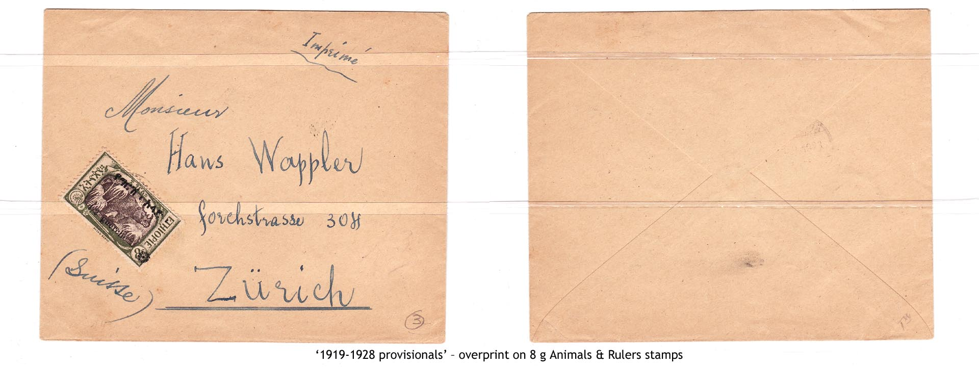 1919-1928 provisionals' – overprint on 8 g Animals & Rulers stamps