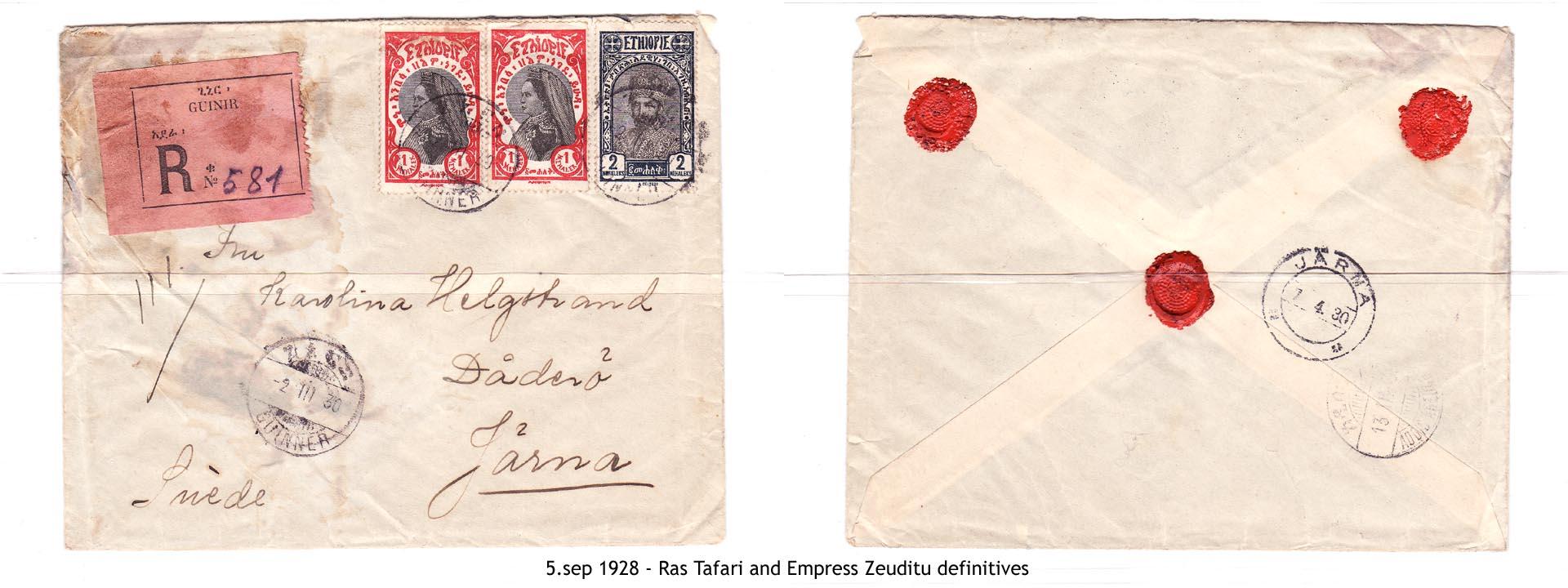 19280905 - Ras Tafari and Empress Zeuditu definitives