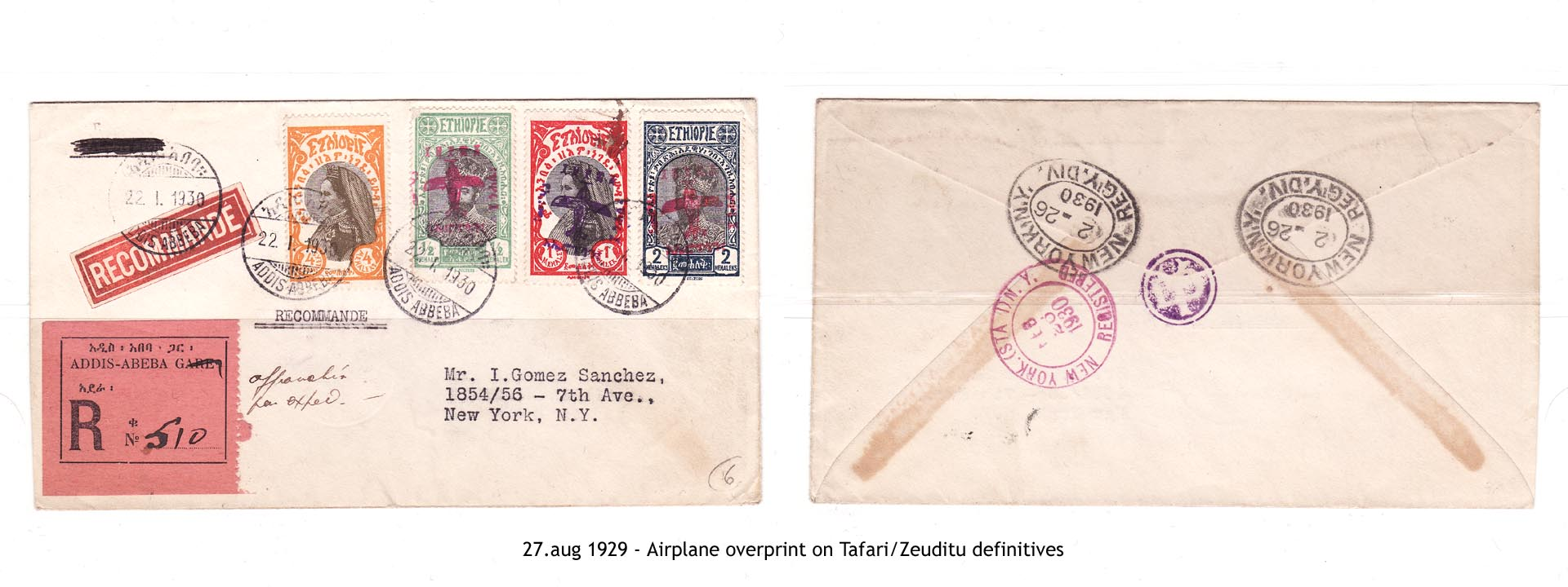 19290827 - Airplane overprint on Tafari-Zeuditu definitives