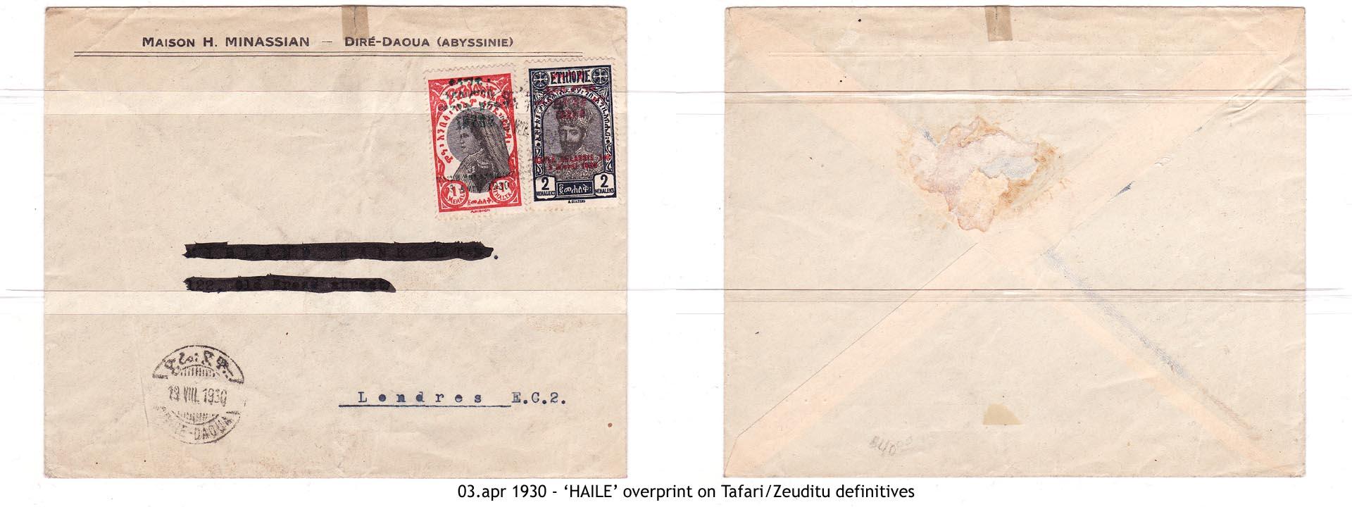 19300403 - 'HAILE' overprint on Tafari-Zeuditu definitives
