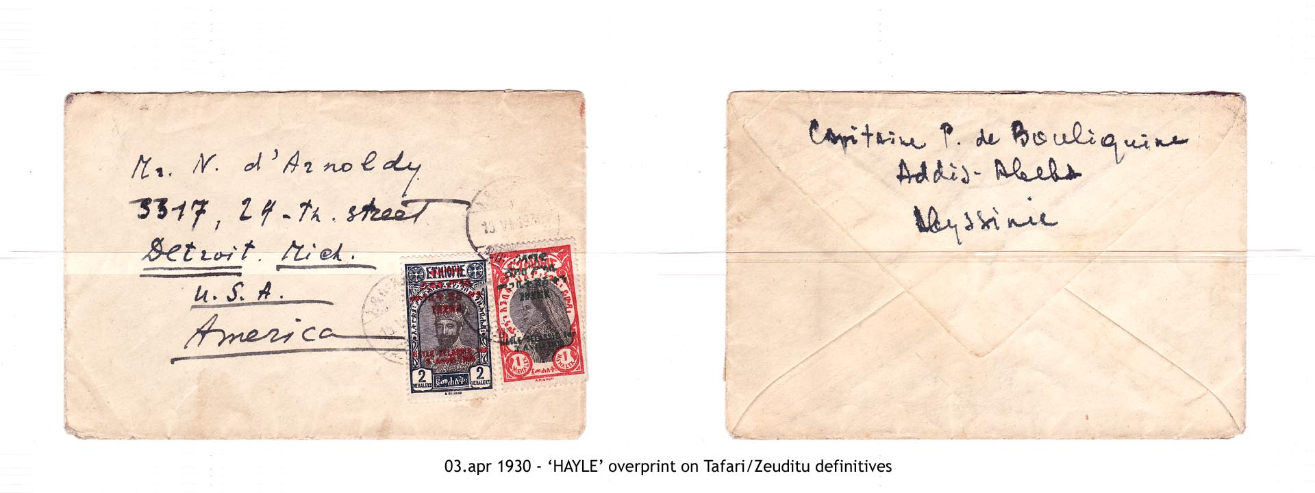 19300403 - 'HAYLE' overprint on Tafari-Zeuditu definitives