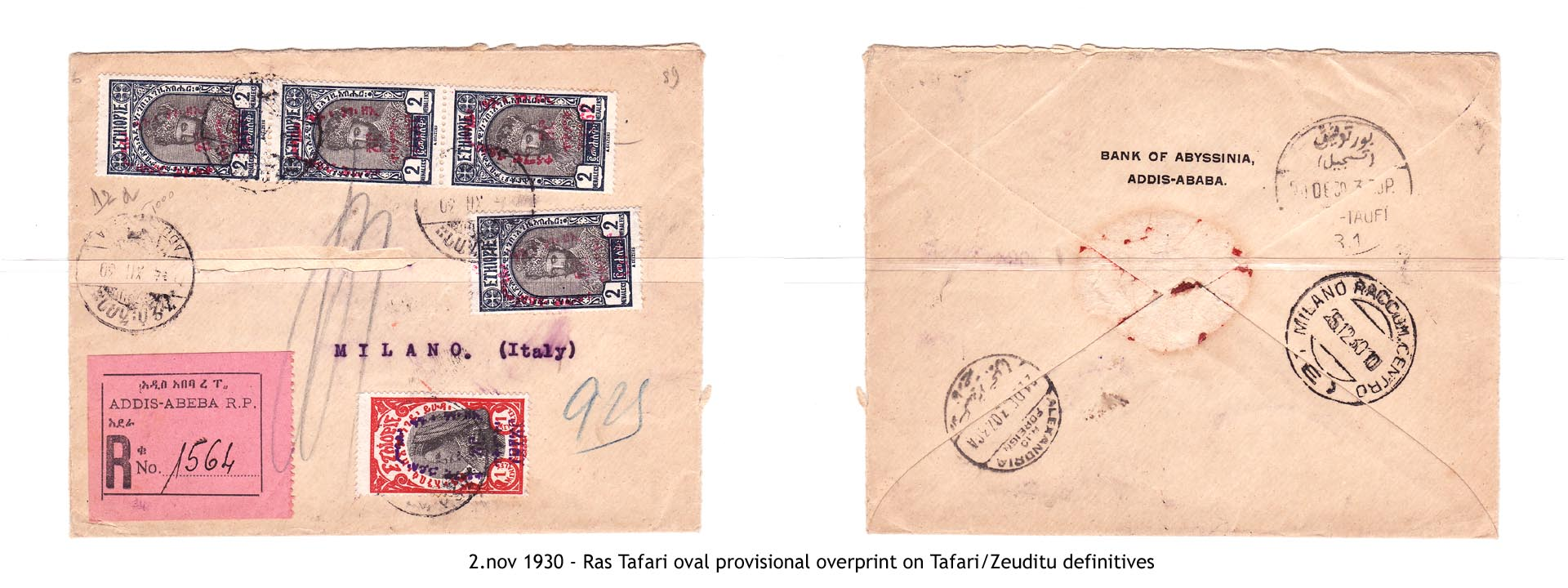 19301102 - Ras Tafari oval provisional overprint on Tafari-Zeuditu definitives