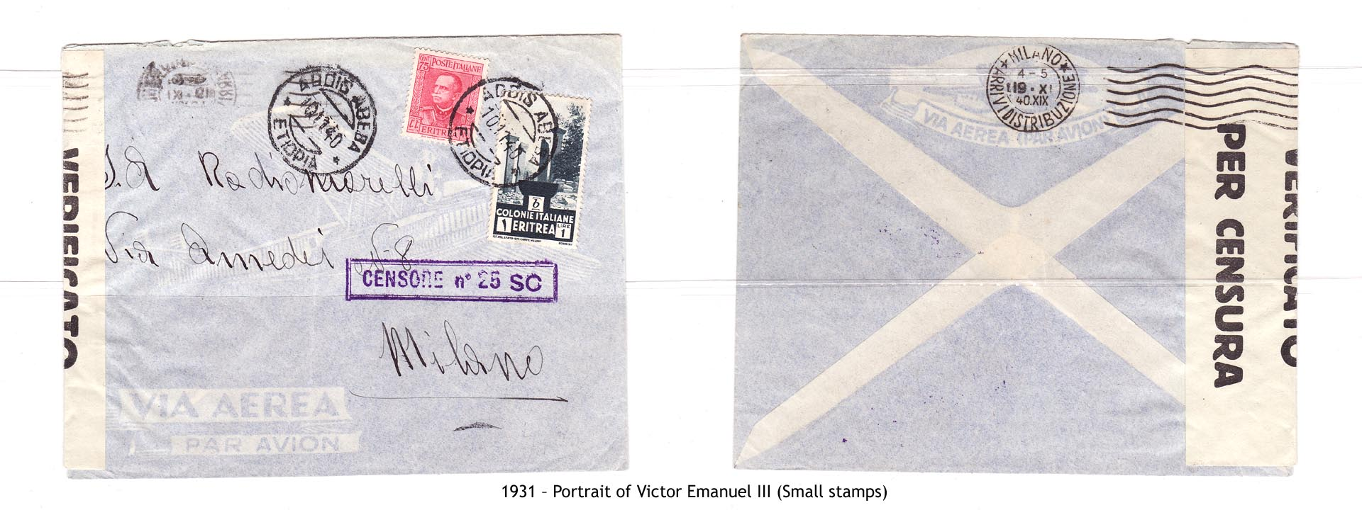 1931 – Eritrea Portrait of Victor Emanuel III (Small stamps)