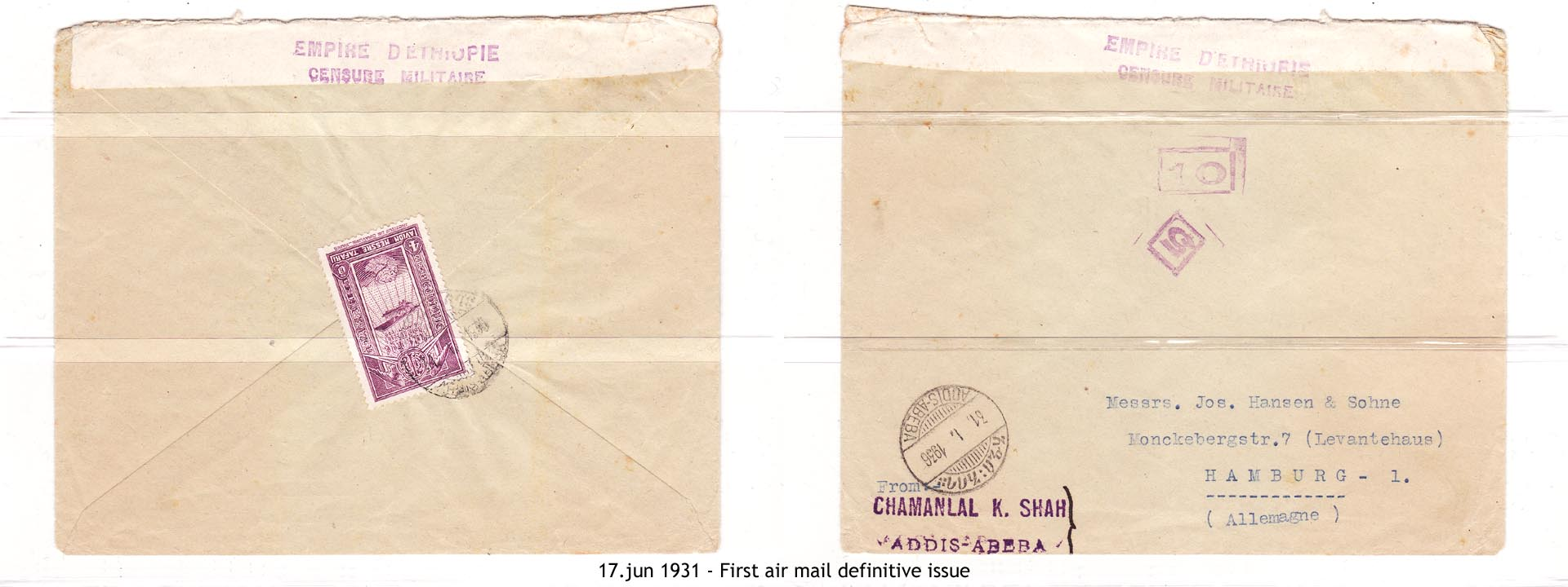 19310617 - First air mail definitive issue