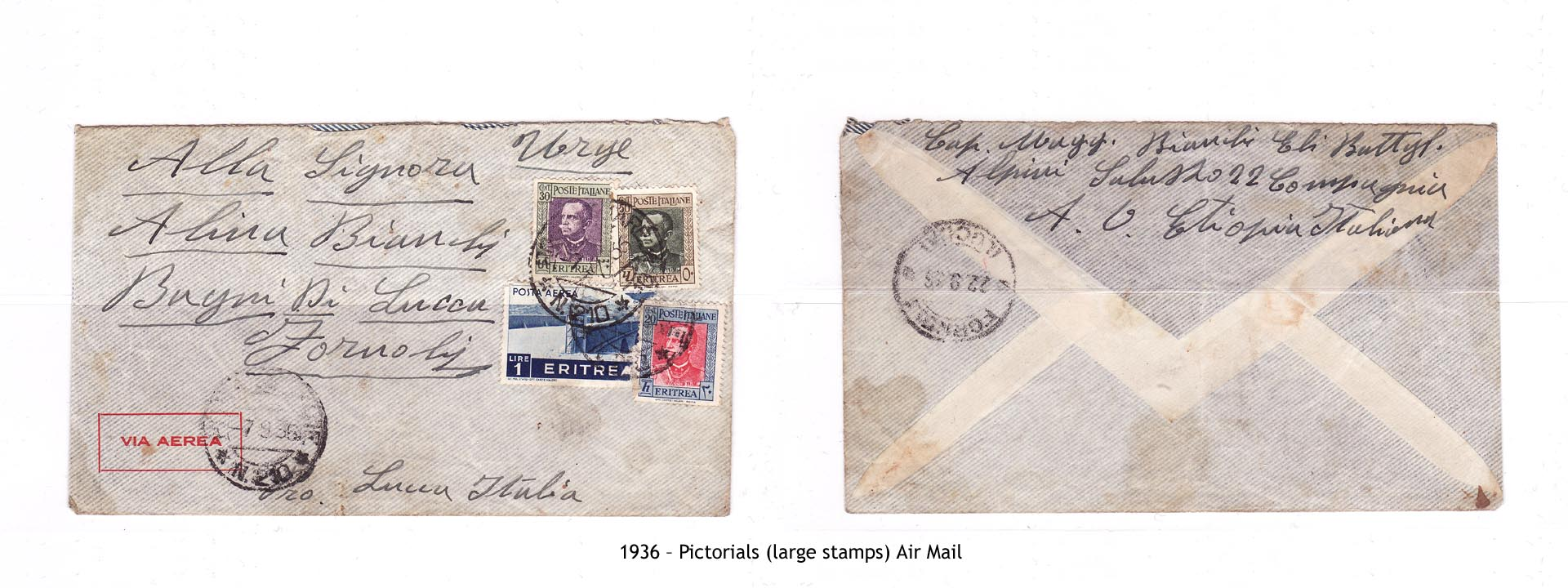 1936 – Eritrea Pictorials (large stamps) Air Mail