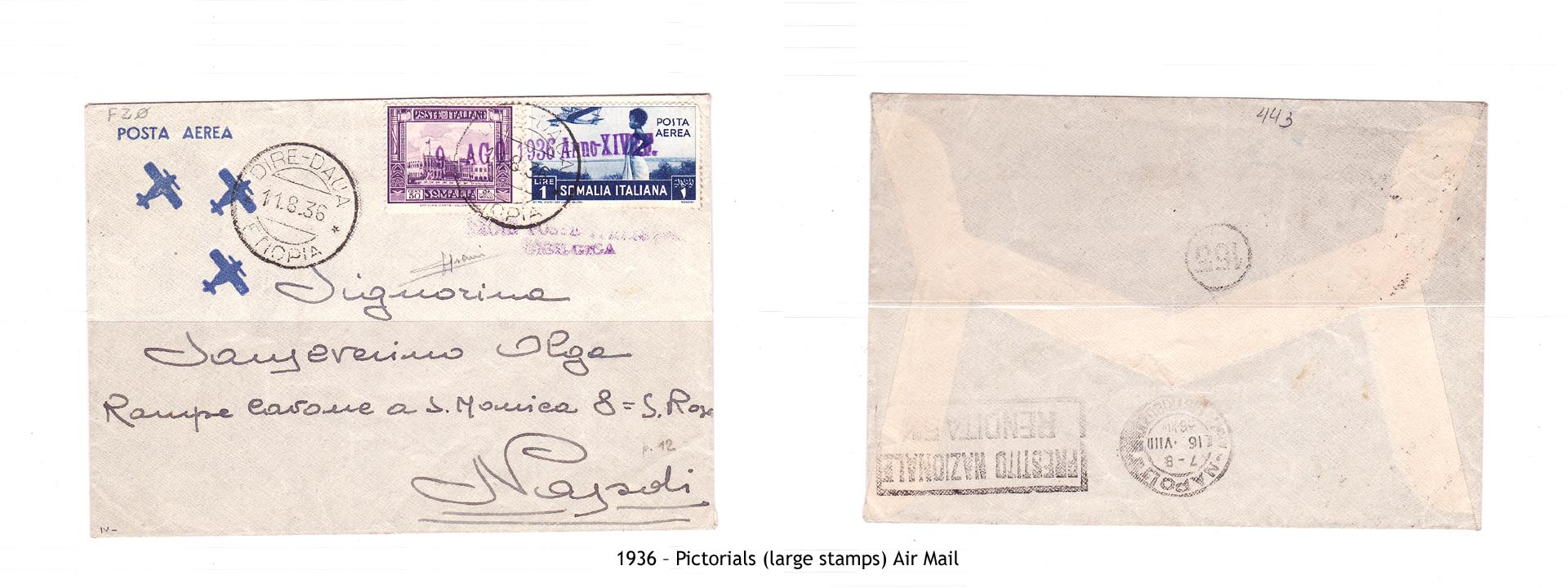 1936 – Somalia pictorials (large stamps) Air Mail
