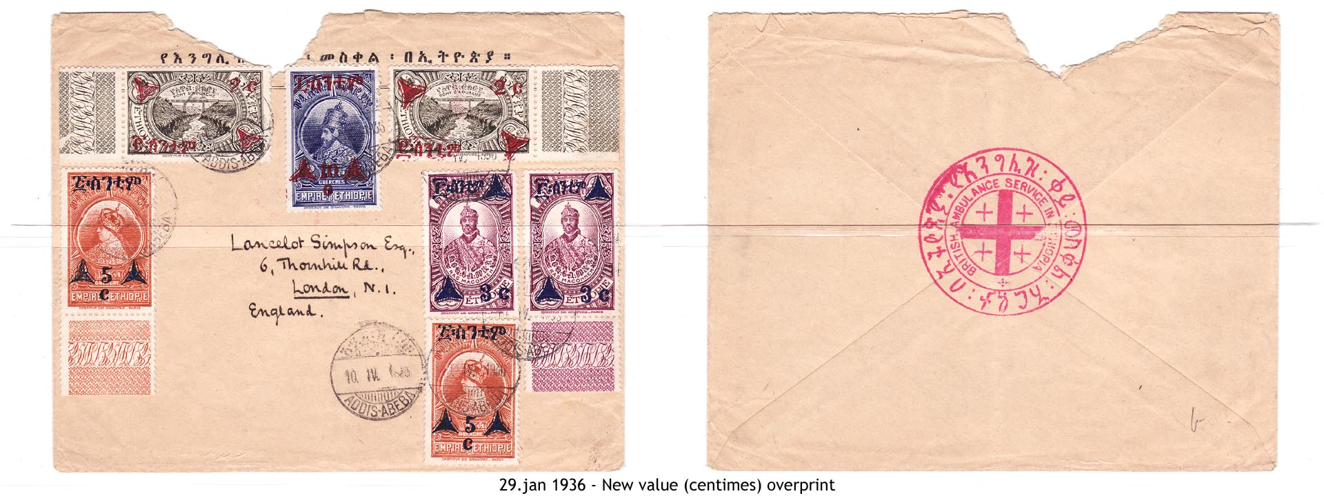 19360129 - New value (centimes) overprint