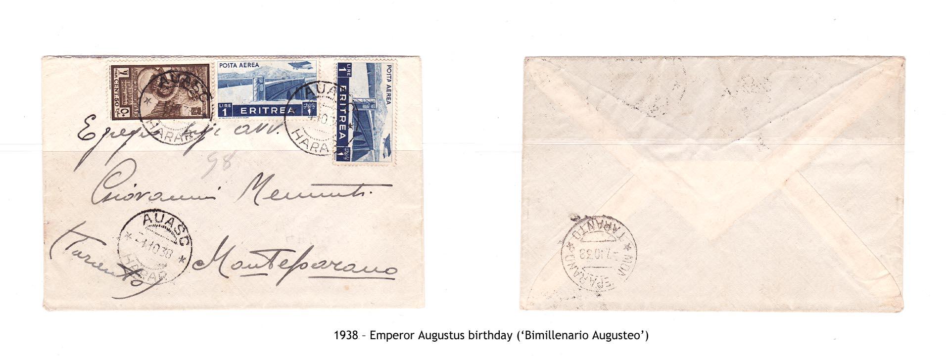 1938 – AOI Emperor Augustus birthday ('Bimillenario Augusteo')