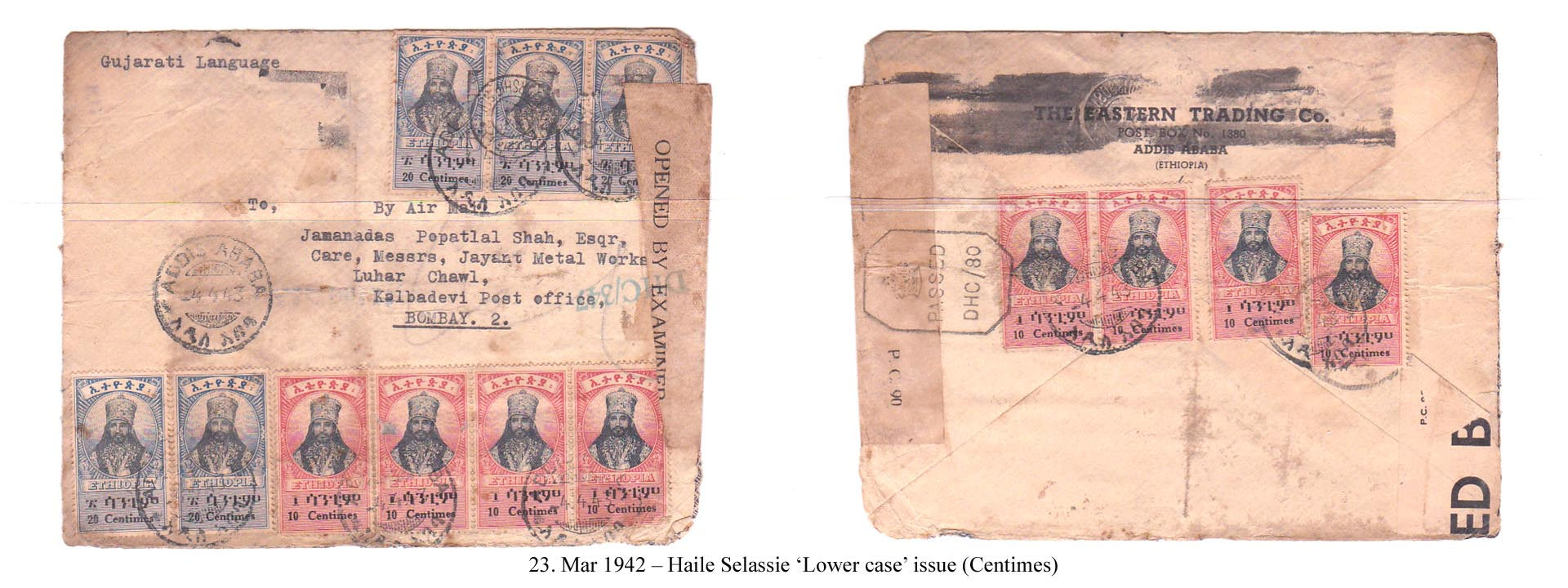 19420323 – Haile Selassie 'Lower case' issue (Centimes)