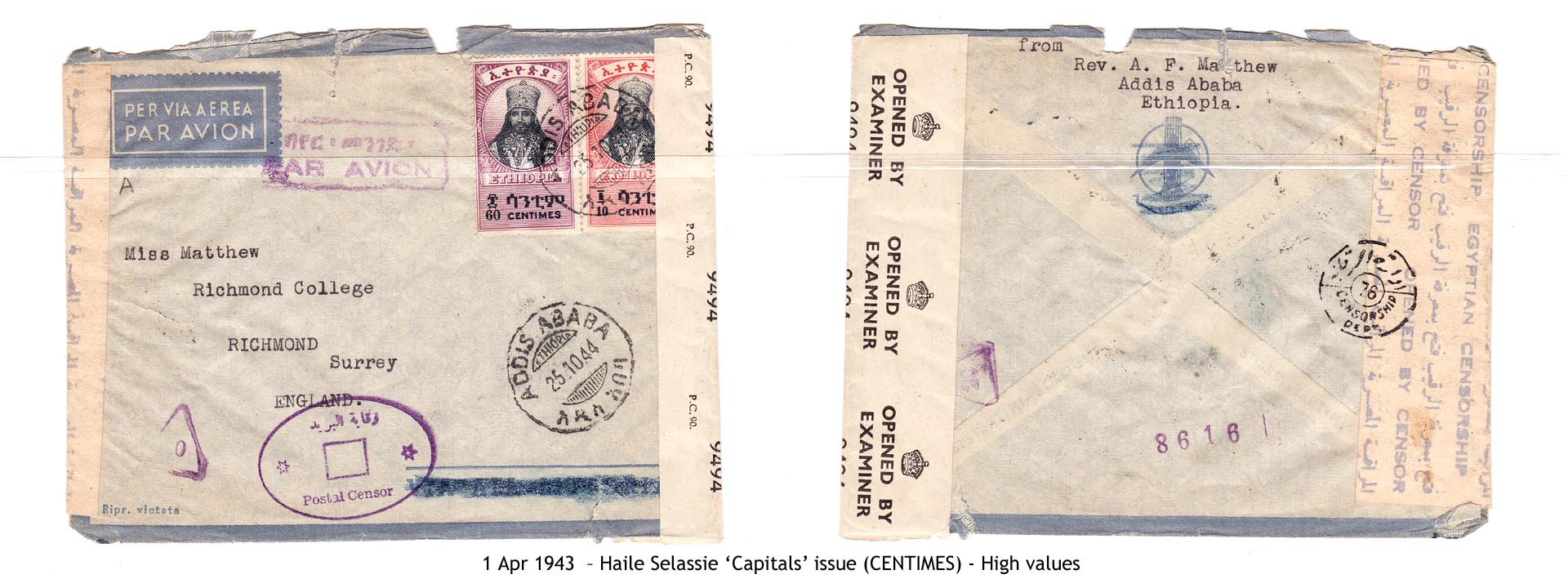 19430401 – Haile Selassie 'Capitals' issue (CENTIMES)