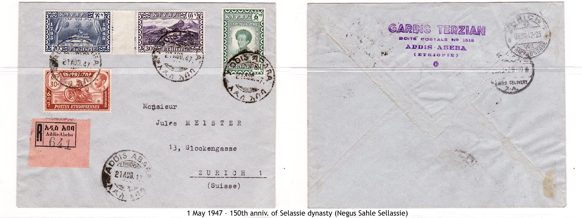 19470501 – 150th anniv. of Selassie dynasty (Negus Sahle Sellassie)