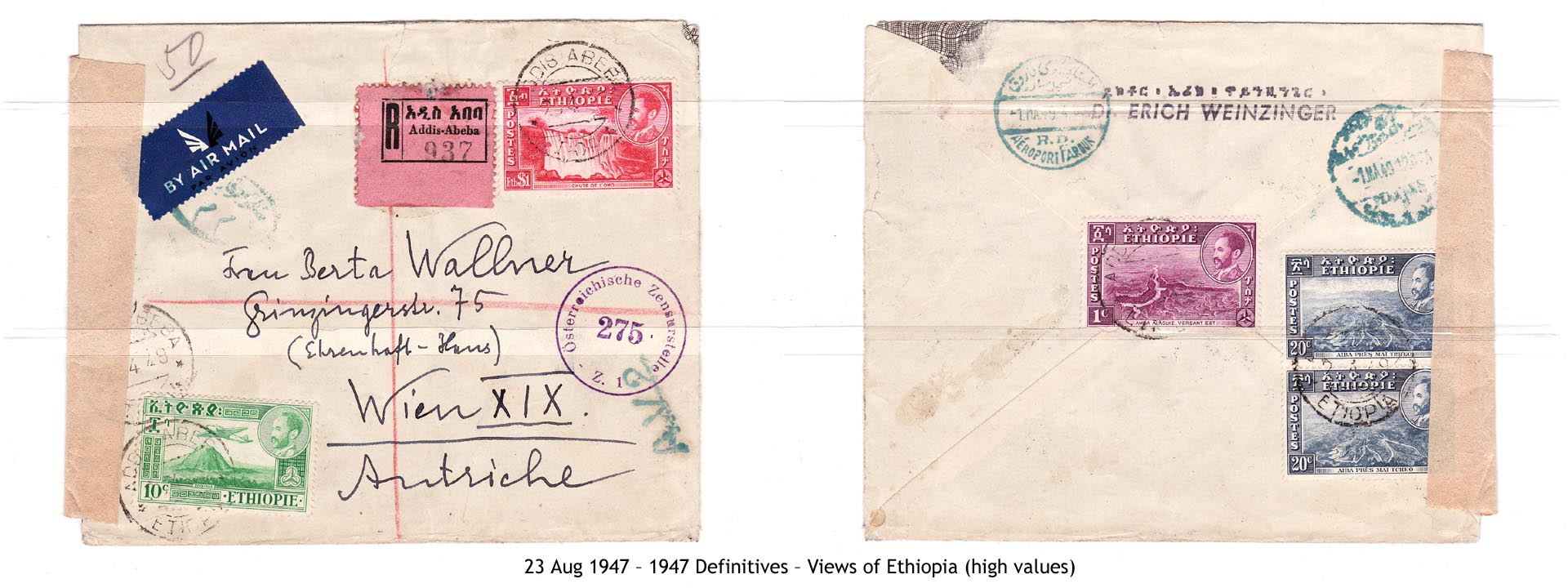 19470823 – 1947 Definitives – Views of Ethiopia (high values)