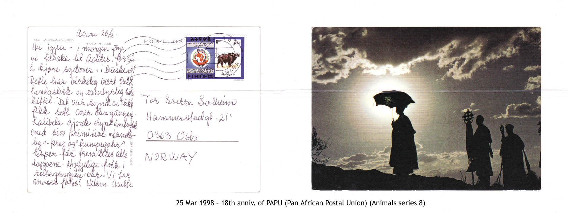 19980325 – 18th anniv. of PAPU (Pan African Postal Union) (Animals series 8)