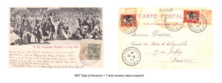 1907 Taxe à Percevoir + T and numeric value overprint 2